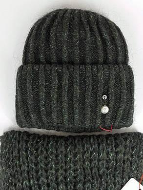 Комплект (шапка и снуд-хомут) Flirt Лика-Морган One Size зеленый, фото 2
