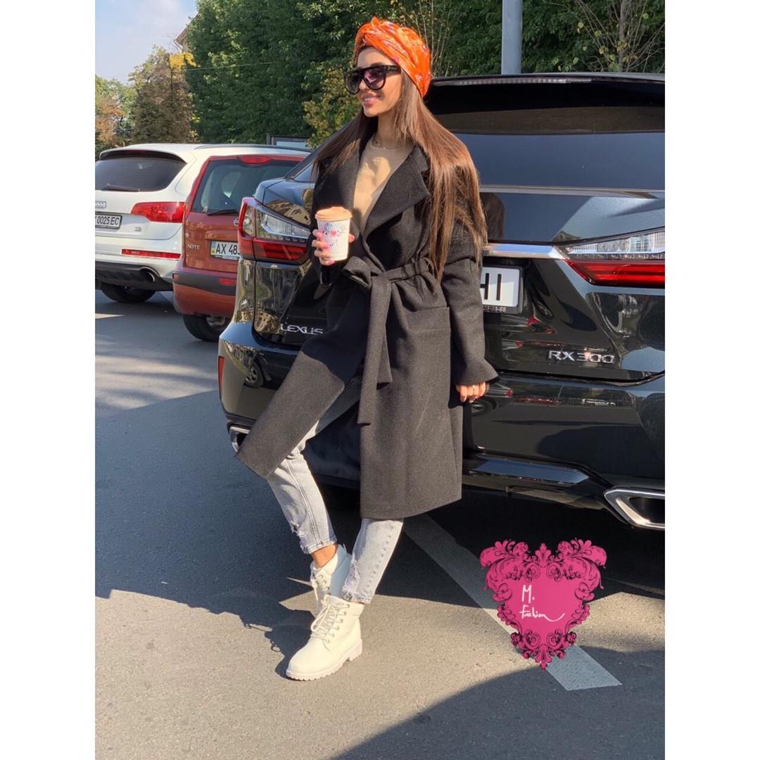 Кашемировое женское Пальто миди под пояс 71pal212