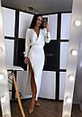 Платье из костюмки с разрезом на ноге и верхом на запах 20plt155, фото 2