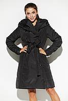 Черное женское демисезонное стеганое пальто, фото 1