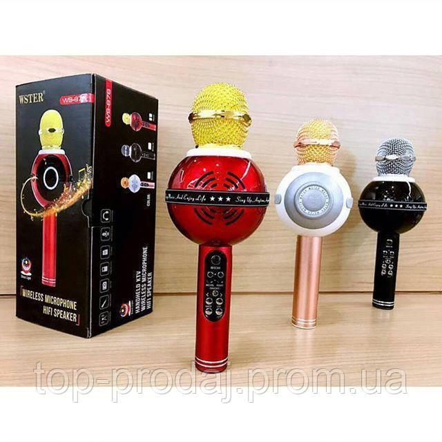 MICROPHONE WS 878, Портативный караоке с динамиком микрофон, Беспроводной микрофон, Микрофон - колонка 2 в 1