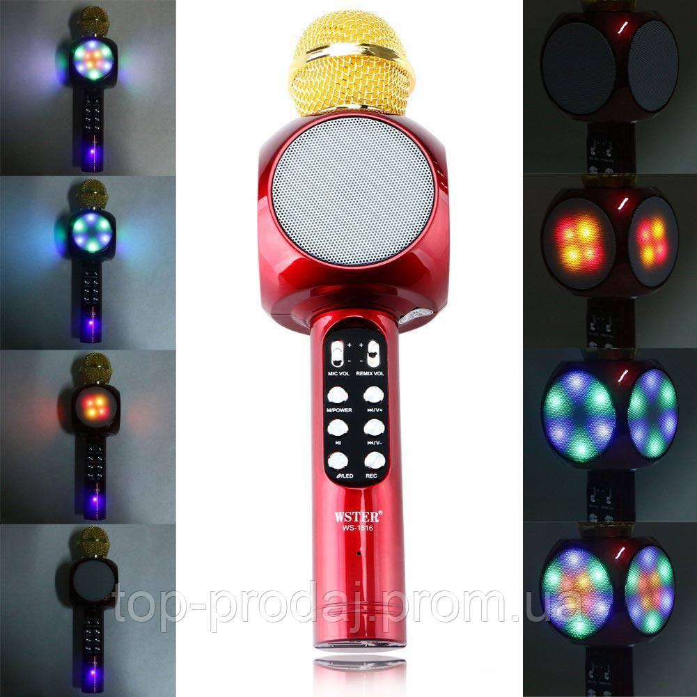 MICROPHONE WS 1816, Bluetooth микрофон, 2 в 1   динамик и микрофон, Беспроводной многофункциональный микрофон
