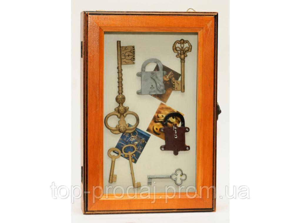 Большая ключница KC3026С, Деревянная ключница, Шкафчик для ключей, Хранение ключей, Настенная ключница