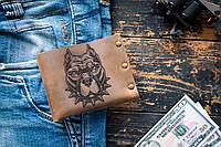 Мужской кожаный кошелек ТатуНаКоже, злий пес, фото 1