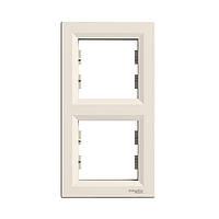 "Рамка ""Asfora"" двойная вертикальная, крем, EPH5810223, Schneider Electric"