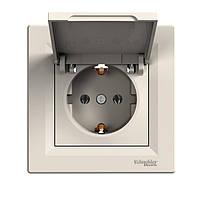 """Розетка """"Asfora"""" скрыт/устан заземления, с крышкой, крем, EPH3100123, Schneider Electric"""