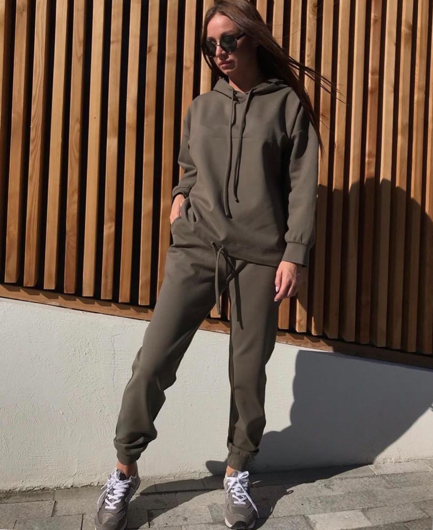 Женский свободный утепленный спортивный костюм с худи 71spt765