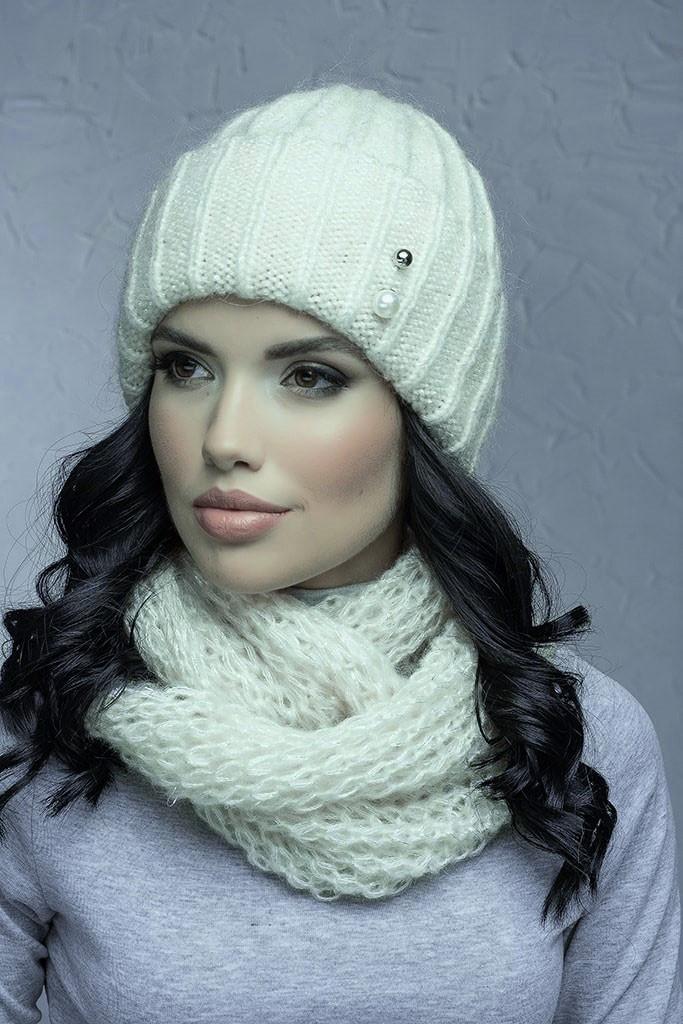 Комплект (шапка и снуд-хомут) Flirt Лика-Морган One Size молочный