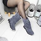 Натуральные замшевые женские ботинки демисезонные  74OB49, фото 4