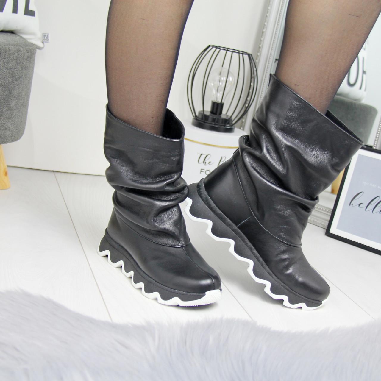 Кожаные женские ботинки на утеплителе широкие 74OB50