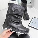 Кожаные женские ботинки на утеплителе широкие 74OB50, фото 4