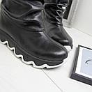 Кожаные женские ботинки на утеплителе широкие 74OB50, фото 5