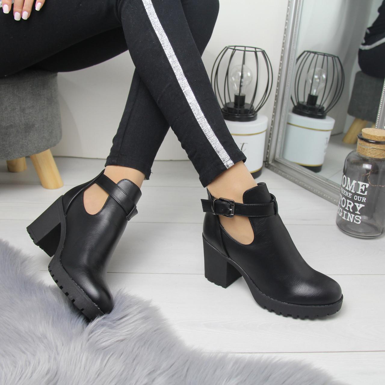 Женские ботинки на небольшом каблуке из экозамши 74OB53
