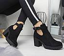Женские ботинки на небольшом каблуке из экозамши 74OB53, фото 2