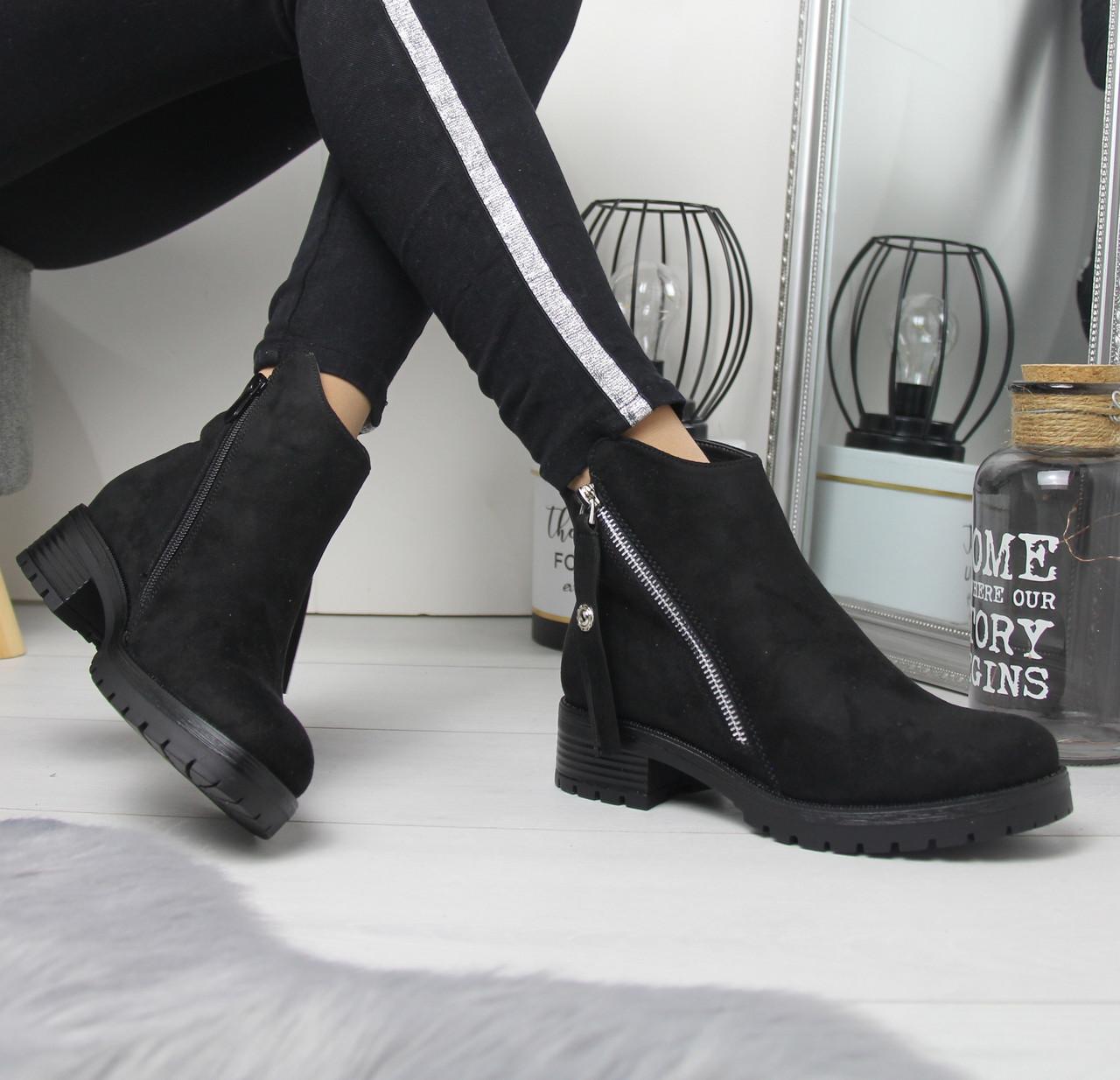 Женские ботинки на флисе на небольшом каблуке 74OB54