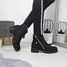 Женские ботинки на флисе на небольшом каблуке 74OB54, фото 3