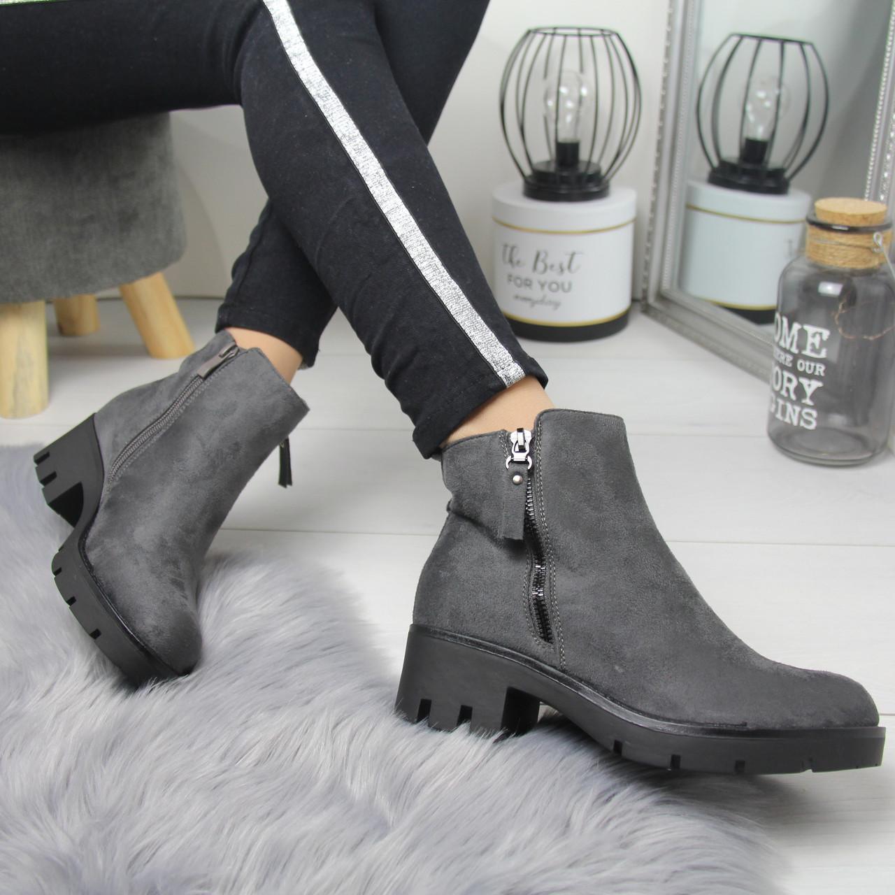 Женские демисезонные ботинки черные и серые на флисе 74OB55