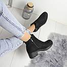Женские демисезонные ботинки черные и серые на флисе 74OB55, фото 2