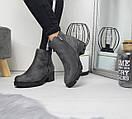 Женские демисезонные ботинки черные и серые на флисе 74OB55, фото 3
