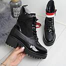 Женские демисезонные ботинки с лаковыми вставками 74OB58, фото 3