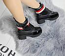 Женские демисезонные ботинки с лаковыми вставками 74OB58, фото 4