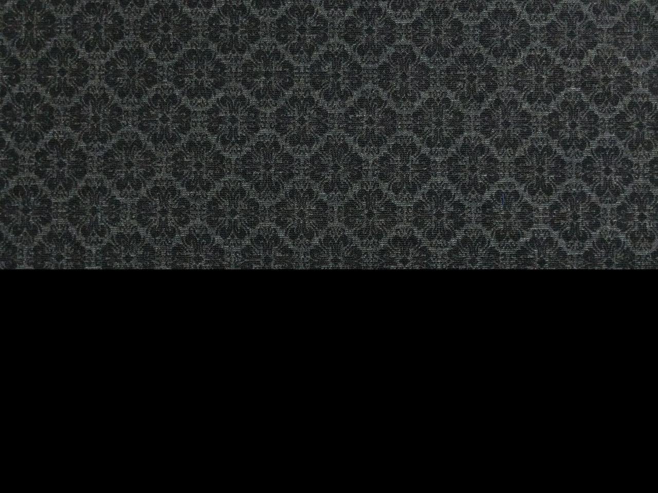 Костюмка трикотажная цветочный орнамент, черный