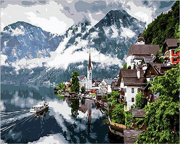 Картины раскраски по номерам 40×50 см. Гальштат. Австрия ...