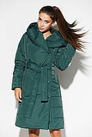 Женское демисезонное стеганое пальто-халат с капюшоном, фото 1