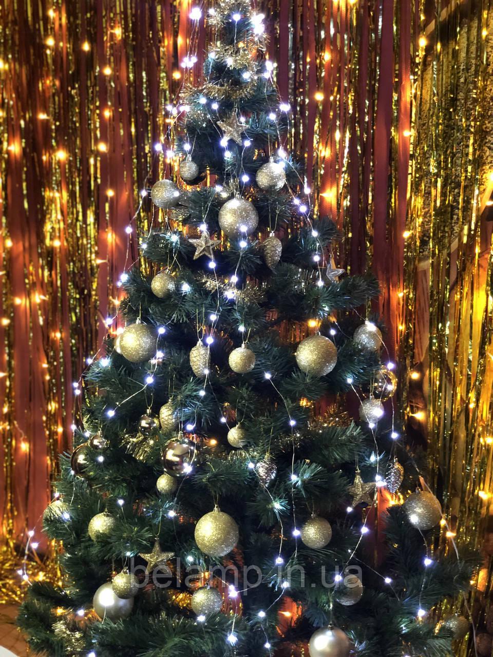 Новогодняя гирлянда на елку конский хвост «Белые огни»
