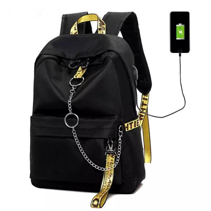 Рюкзак молодежный с цепью и желтыми лентами с USB.