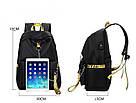 Рюкзак молодежный с цепью и желтыми лентами с USB., фото 6