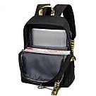 Рюкзак молодежный с цепью и желтыми лентами с USB., фото 4