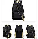 Рюкзак молодежный с цепью и желтыми лентами с USB., фото 5