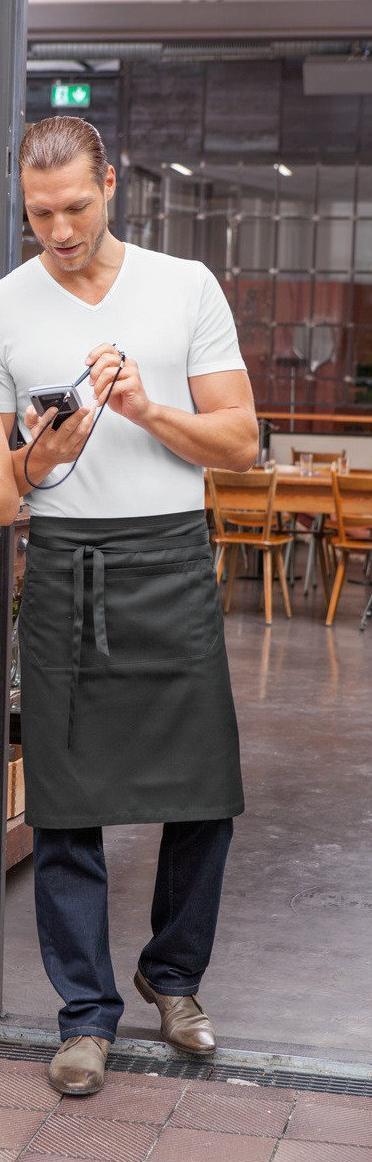 Передник с тремя карманами для официанта и бармена TEXSTYLE по колено
