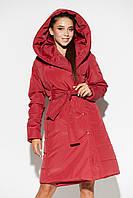 Красное осеннее стеганое женское пальто с капюшоном, фото 1
