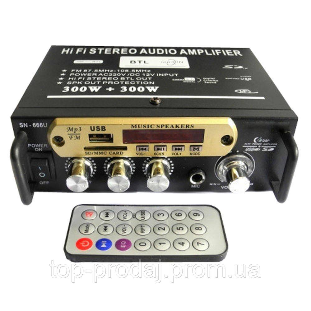 Усилитель AMP SN 666 BT, Усилитель мощности звука, Усилитель звука, Усилитель 2-х Канальный  с пультом