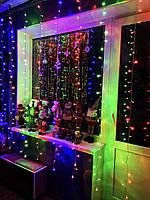 Новорічна гірлянда штора 2 на 2 метри. 200 led. Різнокольорові вогні, фото 1
