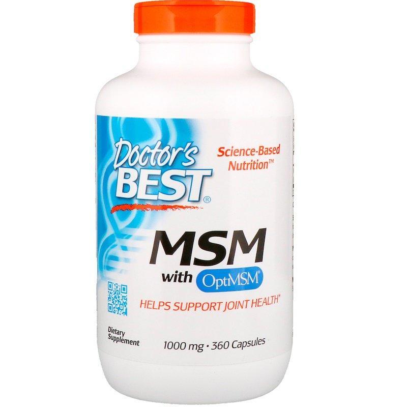 "Метилсульфонилметан Doctor's Best ""MSM with OptiMSM"" 1000 мг, здоровье суставов (360 капсул)"