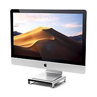 "Алюминиевая подставка / порт-репликатор для iMac, Satechi Type-C Aluminum Monitor Stand Hub Silver - цвет ""серебро"" (SD / microSD CardReader; 3.5 mm"