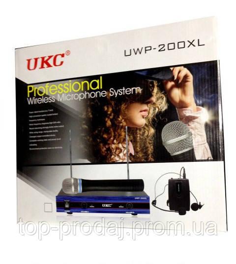 Микрофон DM UWP-200 XL, Микрофон для вокала, пения, караоке, Профессиональная База + 2 микрофона беспроводных