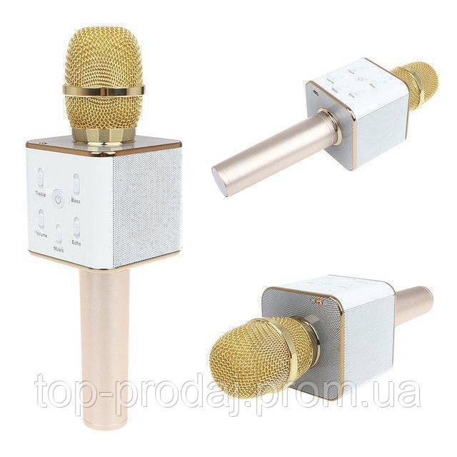 Микрофон DM Karaoke Q7 GOLD, Беспроводной микрофон караоке, Микрофон для караоке, Динамический блютуз микрофон