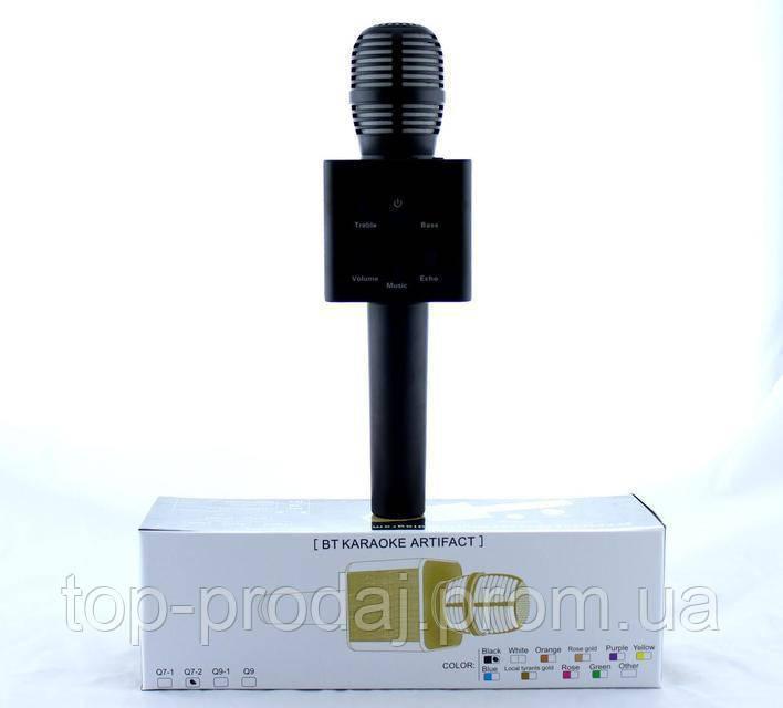 Микрофон DM Karaoke Q7-2, Портативный микрофон для караоке, Аккумуляторный блютуз микрофон, Блютуз микрофон