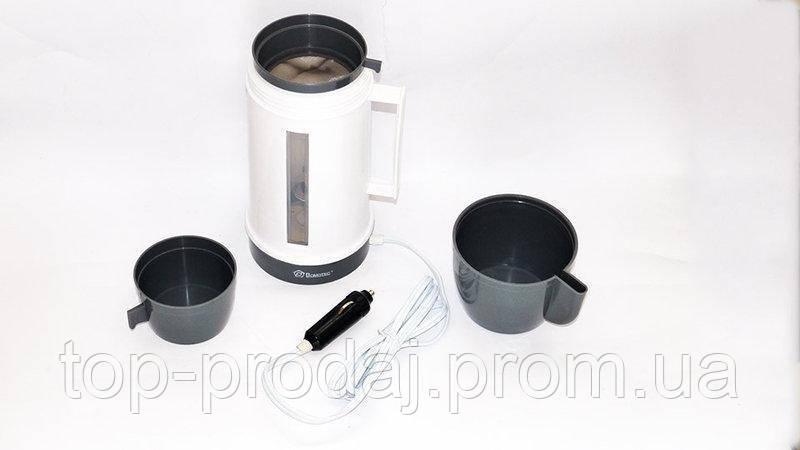 Чайник автомобильный MS 401/ 0823 (12V прикуриватьель), Электрочайник от прикуривателя, Чайник с чашкой в авто