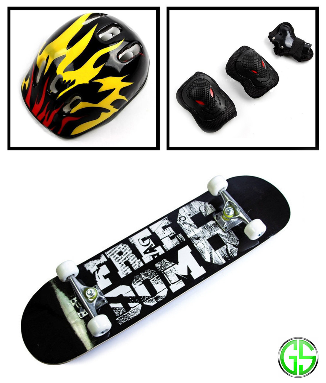 Скейтборд деревянный Scale Sports Freedom и шлем и защита