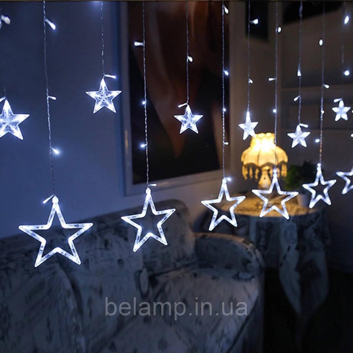 """Новогодняя гирлянда занавес на окно  """"Белый Звездопад"""""""