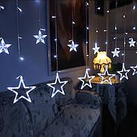 """Новогодняя гирлянда занавес на окно  """"Белый Звездопад"""", фото 1"""