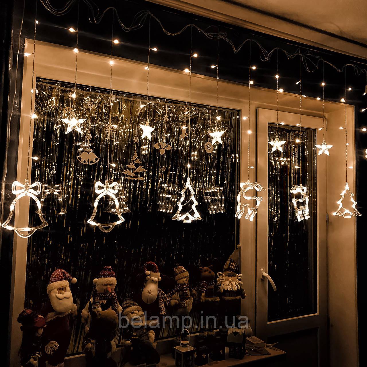 Новогодняя гирлянда шторана окно «Сказка»