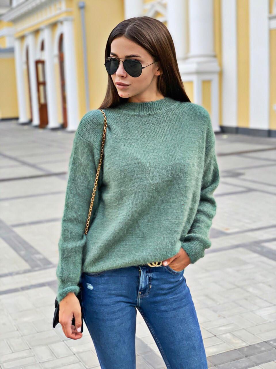 Женский теплый свитер однотонный свободный 68dmde620, фото 1