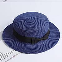Детская шляпка соломенная синий