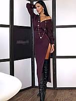 Сукня з костюмки з розрізом на нозі і верхи на запах 20mpl155